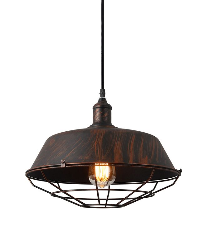Industrial Pendant Light Brushed Brown Cage