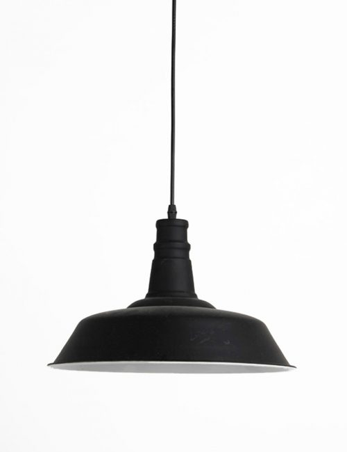 Metal Pendant Light Vintage Dome Black