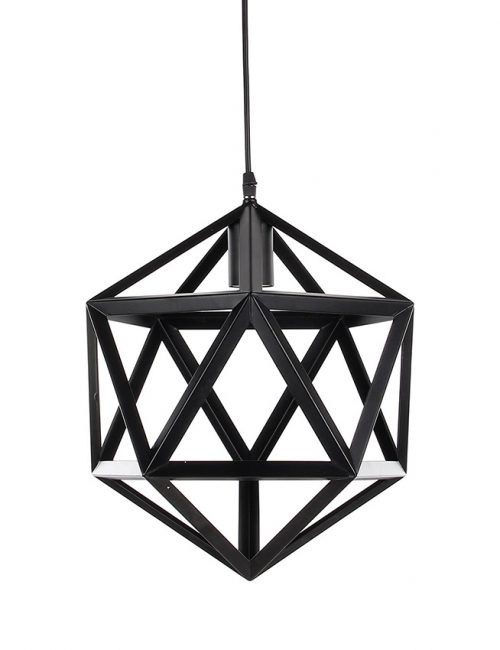 Industrial Pendant Lighting Philippines Metal Hexagonal Dome Cage Vintage Pattern Wave Black White Gray Wooden