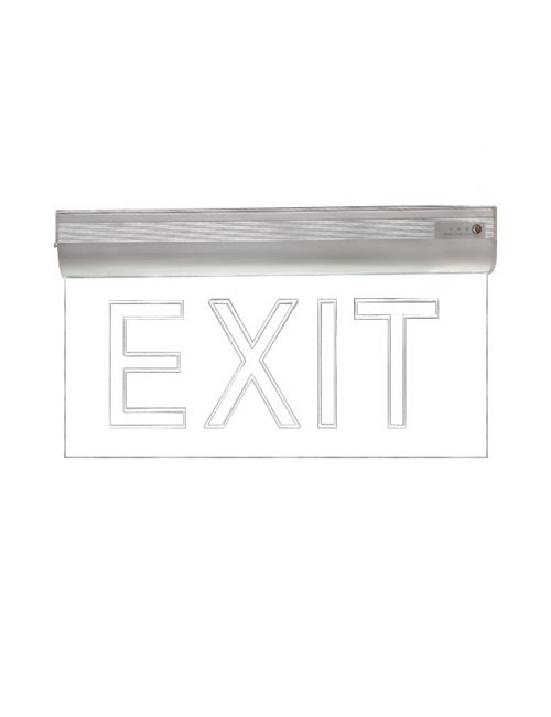LED Exit Light Clear Single Face | Hanging Fire Exit Sign