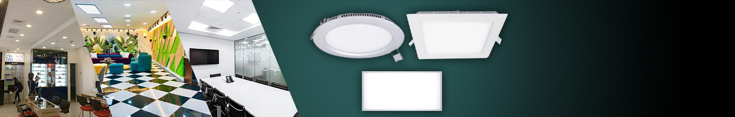 """LED PANEL LIGHTS<div id=""""epl-title2"""">Surface and Recessed Mounted<br>Round • Square • Rectangular</div>"""